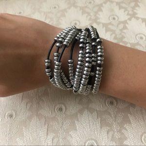 Silver Multi String Beaded Bracelet